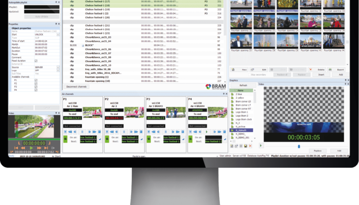 Interface of Air24 manage video and graphics